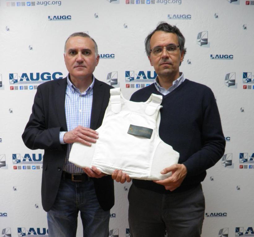 Alberto  Moya, secretario general de AUGC, con Jesús Arroyo, coordinador del Movimiento20d