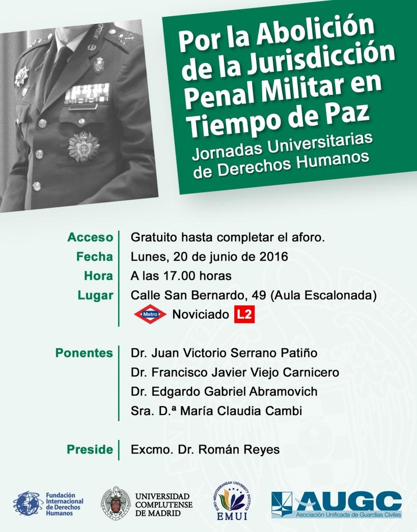 Cartel de las Jornadas Por la Abolición de la Jurisdicción Penal Militar en Tiempo de Paz