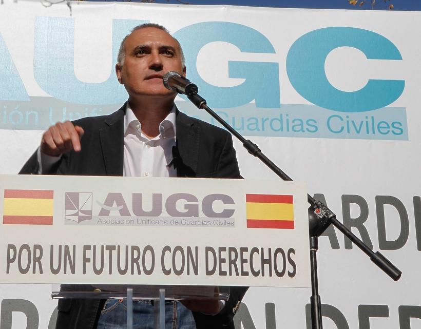 Alberto Moya, en su intervención al término de la manifestación del pasado 14 de noviembre.