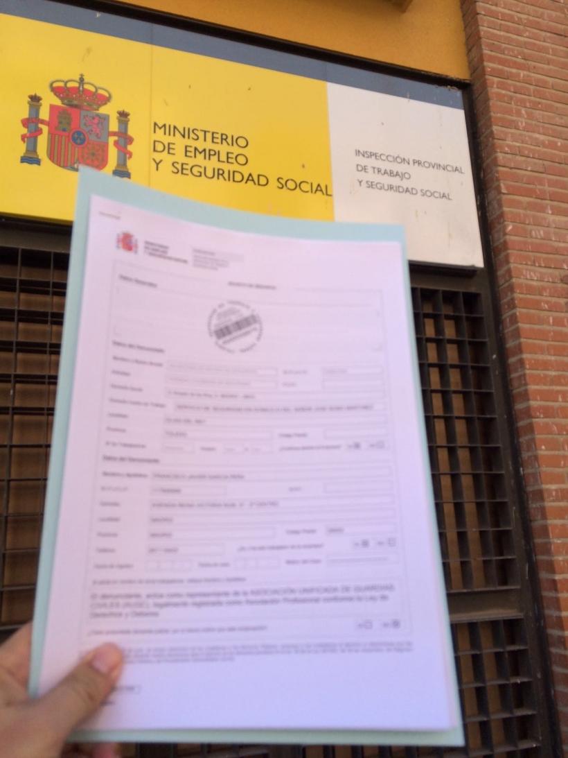 Denuncia presentada por AUGC ante la Dirección General de Inspección de Trabajo y Seguridad Social