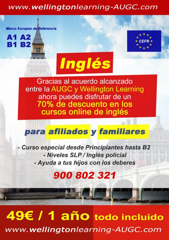 Cartel de la oferta de cursos de inglés que Wellingtonlearning ofrece a los afiliados de AUGC