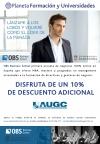 Cartel de la colaboración entre AUGC y la OBS Business School