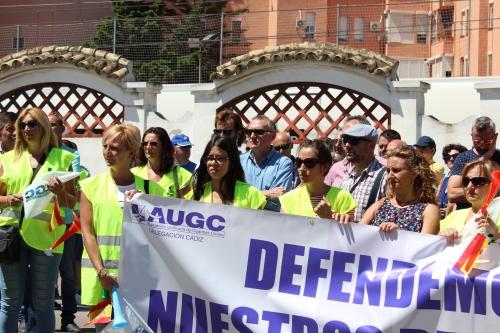 Imagen de la concentración celebrada en Cádiz el pasado junio contra la sanción a los guardias civiles de Ubrique y Arcos de la Frontera