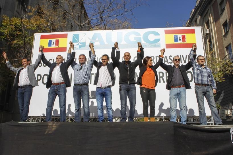 La actual JDN, en el estrado donde concluyó la manifestación del pasado 14 de noviembre