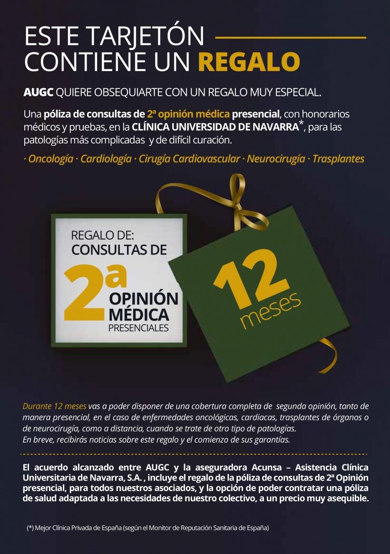 Promoción de ACUNSA por la que se ofrece gratis una segunda opinión médica a los afiliados de AUGC durante 2017