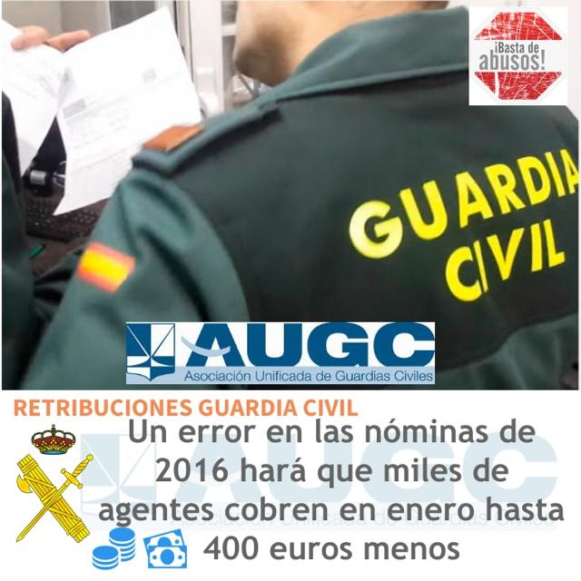 El error administrativo le puede suponer a los guardias civiles una merma en sus nóminas de enero de hasta 400 euros.