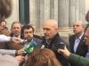 Juan Liébana, secretario nacional de Relaciones Institucionales de AUGC, atiende a los medios en presencia del diputado de Ciudadanos Miguel Gutiérrez.