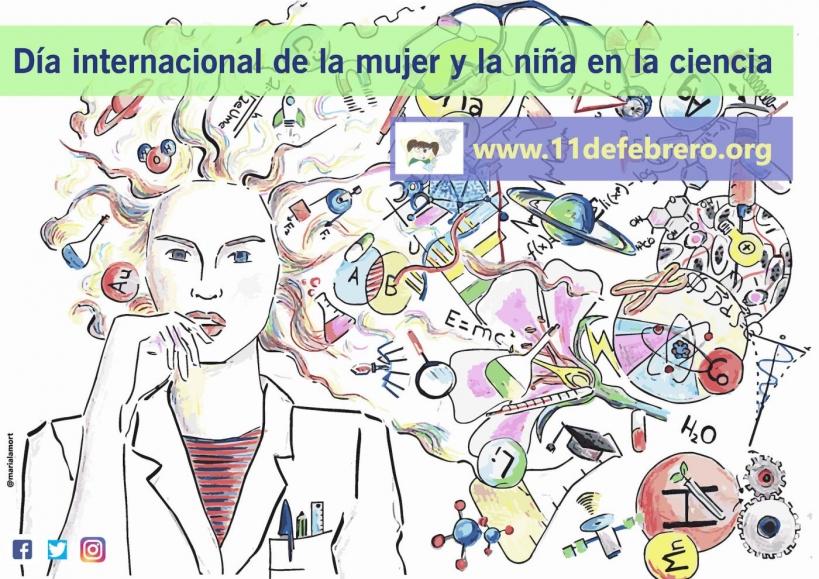Cartel que la iniciativa www.11defebrero.org ha elaborado para el Día Internacional de la Mujer y la Niña en la Ciencia.