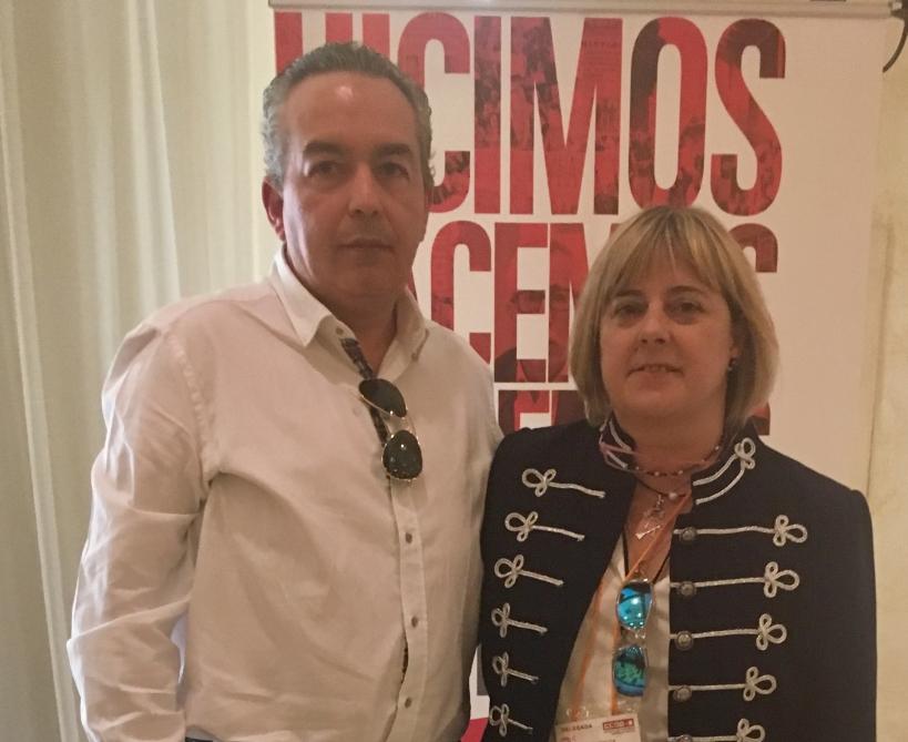 El secretario general de la Federación de Castilla-La Mancha de AUGC, Francisco Javier García Peña, con la Secretaria General de la FSC de Comisiones Obreras en esta comunidad, Carmen López