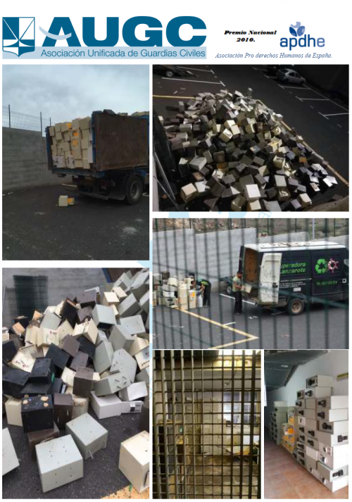 Fotografías del almacén de residuos sólidos en dependencias oficiales.