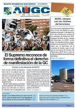 Portada del boletín de marzo de AUGC Madrid