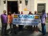 Representantes de AUGC Badajoz, ante la sede de la Delegación del Gobierno.