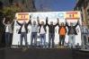 La Junta Directiva Nacional de AUGC, en el estrado de la manifestación del 14 de noviembre de 2015, la 'Marea de Tricornios'