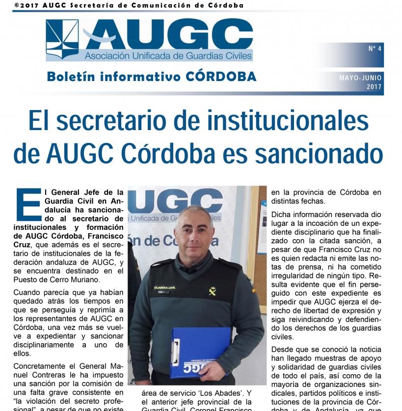 Portada del boletín de AUGC Córdoba con el resumen de mayo y junio de 2017