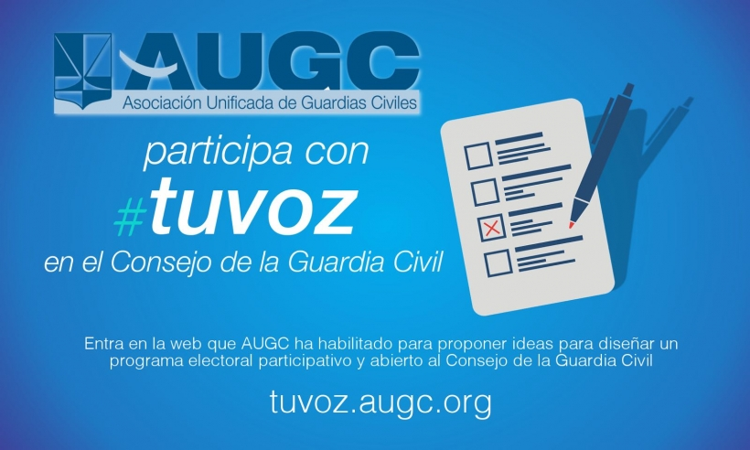 Cartel para promocionar la participación de los afiliados en la confección del programa electoral de AUGC.