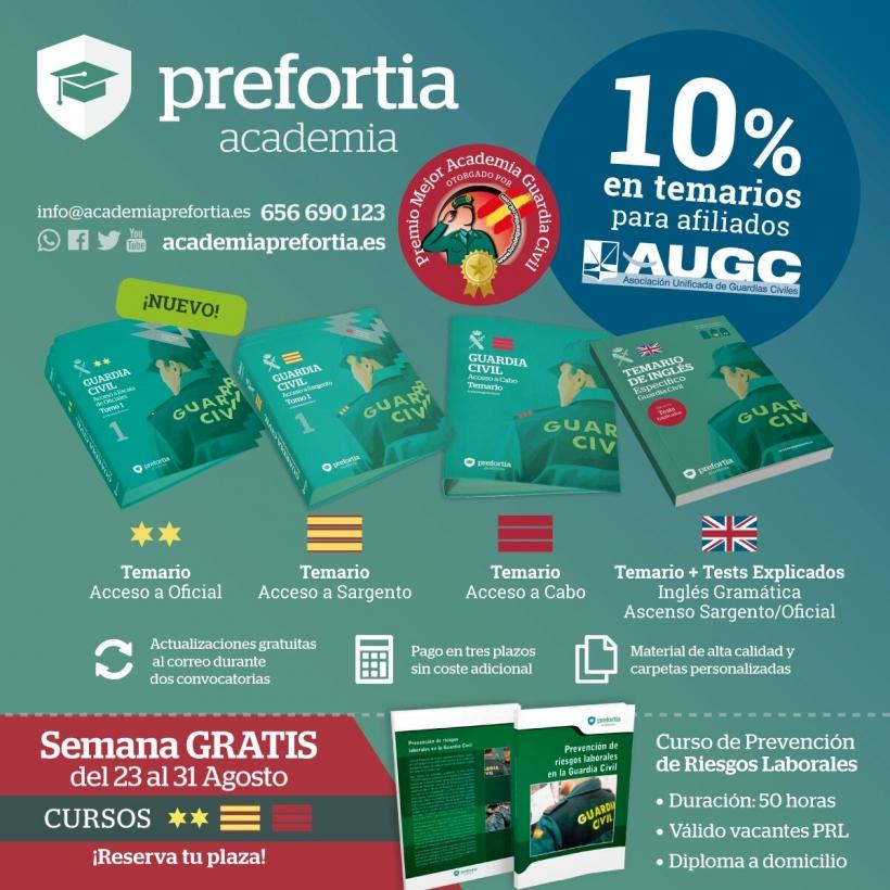 Cartel de la oferta formativa de AUGC con Prefortia
