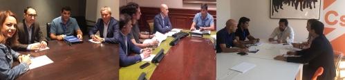 Representantes de AUGC en sus reuniones, de izquierda a derecha, con el PSOE, Unidos Podemos y Ciudadanos.