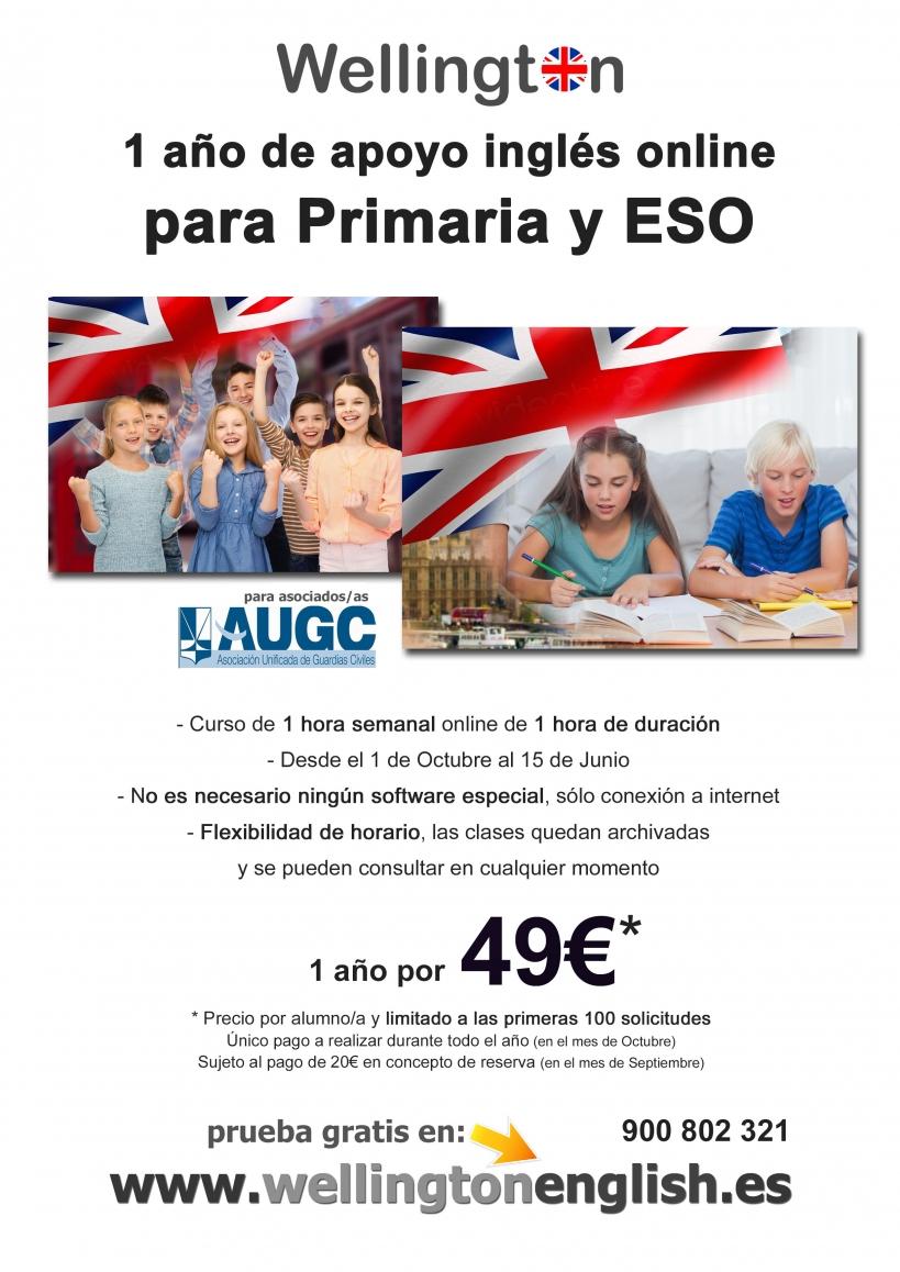 Cartel del curso de inglés de Wellington para afiliados a AUGC.