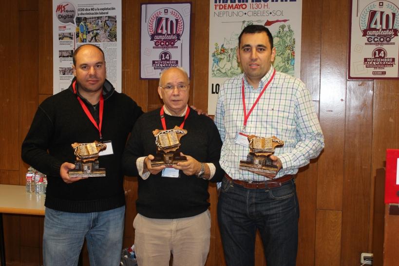 De izquierda a derecha, David Domínguez, secretario general provincial de AUGC Tarragona; Juan Fernández, su homólogo en Lleida; y Alfonso Merino, de la delegación de Barcelona-Girona, que han sido homenajeados en al arranque del Comité Confederal de AUGC