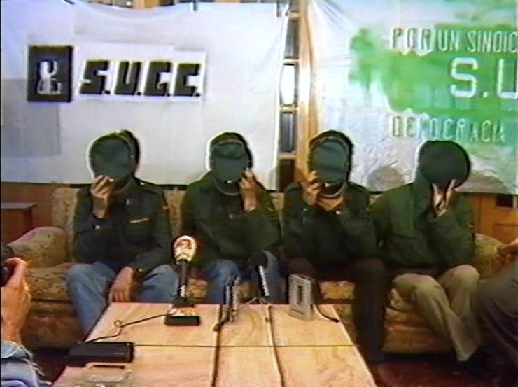 Rueda de prensa del sindicato clandestino de guardias civiles SUGC.