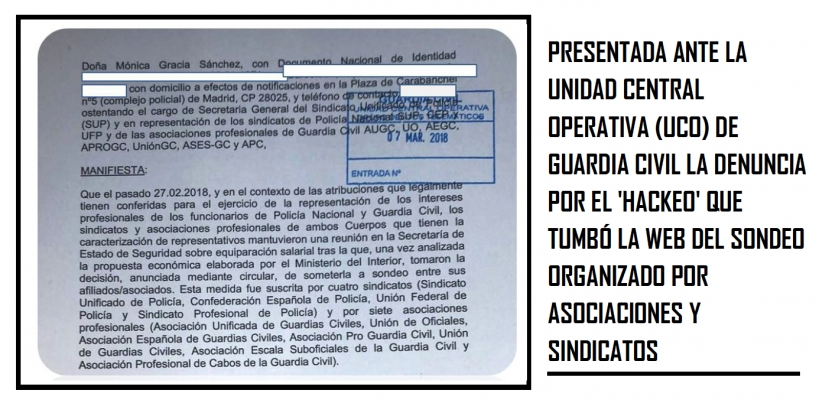 """Presentamos denuncia en la UCO por el """"hackeo"""" en la web donde debíamos decidir sobre le acuerdo de equiparación ofrecido por Interior."""