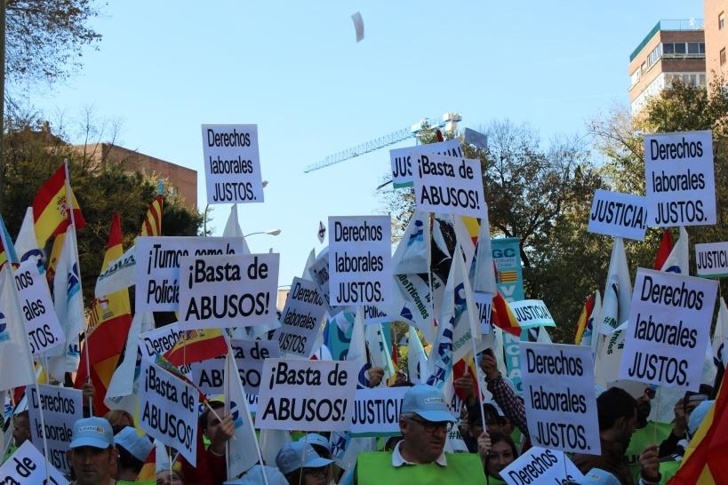Imagen de archivo de la manifestación de guardias civiles en noviembre de 2015, la Marea de Tricornios, en la que se volvió a reclamar derechos sociolaborales para los guardias civiles.