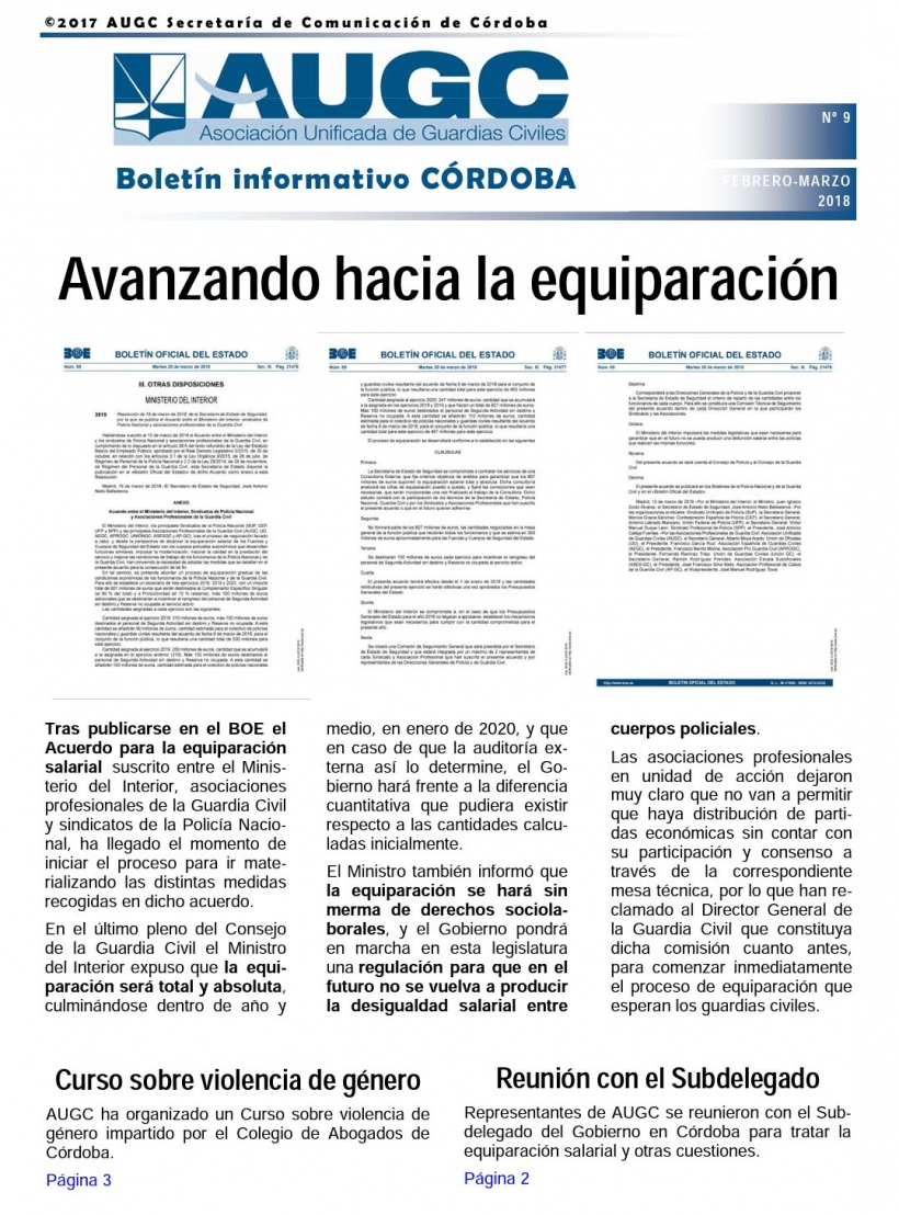 Portada del boletín nº 9 de AUGC Córdoba