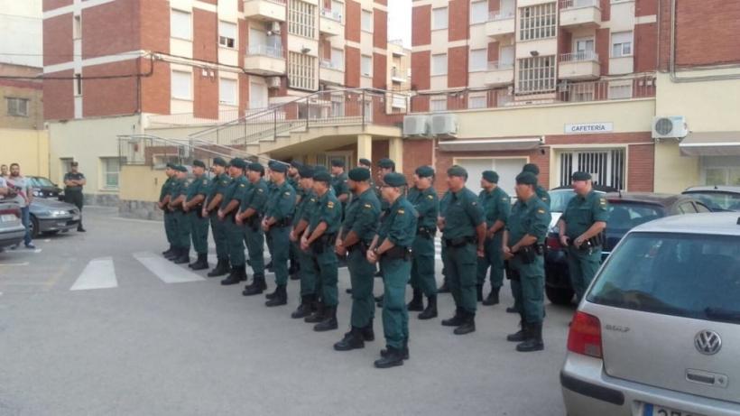 Formación de los guardias civiles murcianos que participaron en la Operación Copérnico.