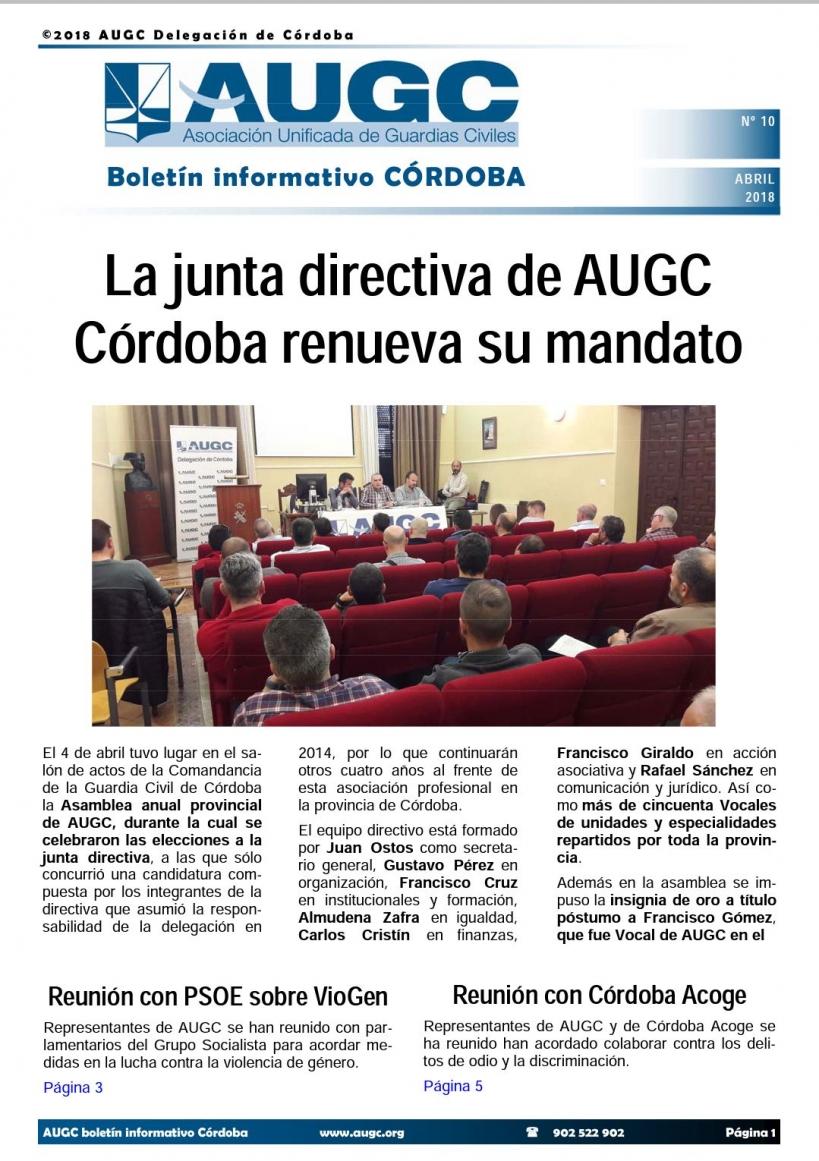 Portada del boletín nº 10 de AUGC Córdoba