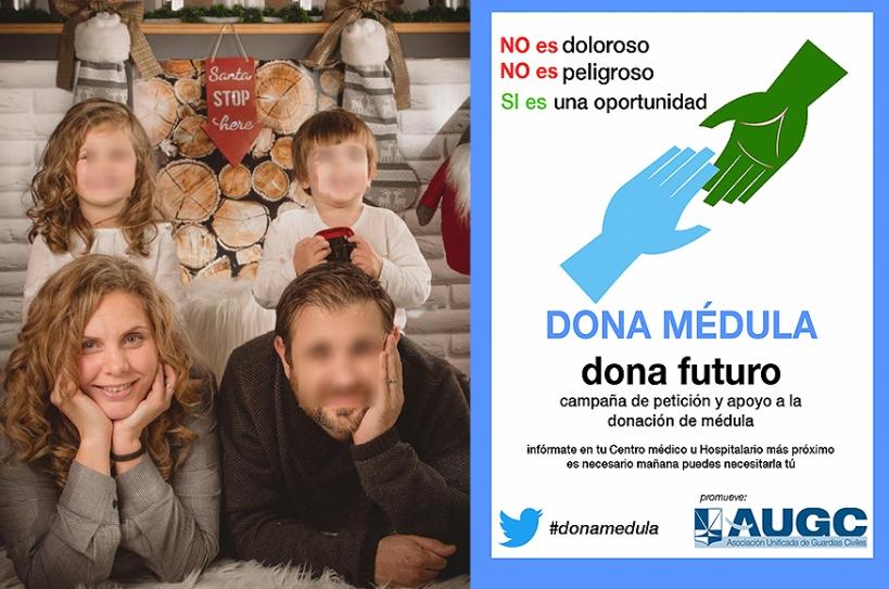 Yolanda y su familia, en una bonita imagen navideña. A la derecha, apoyo de AUGC a la campaña.
