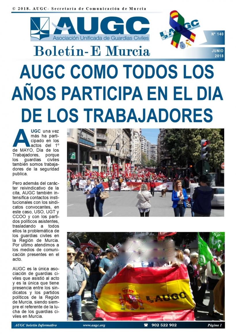 Portada del boletín de mayo de AUGC Murcia.