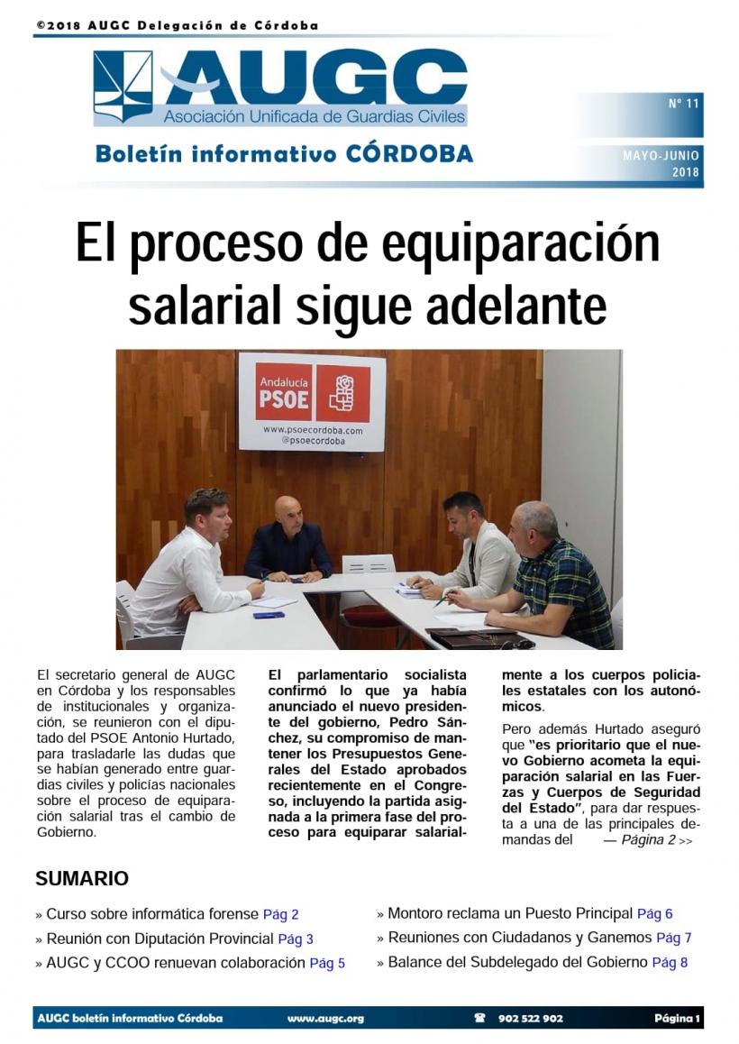 Portada del boletín nº 11 de AUGC Córdoba