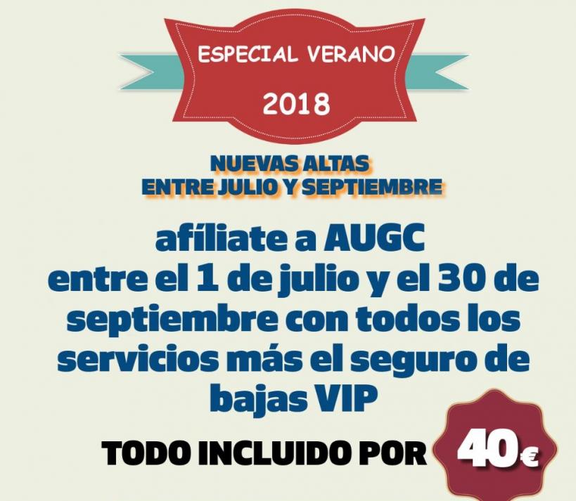 Cartel de la campaña de afiliación de AUGC Verano 2018.