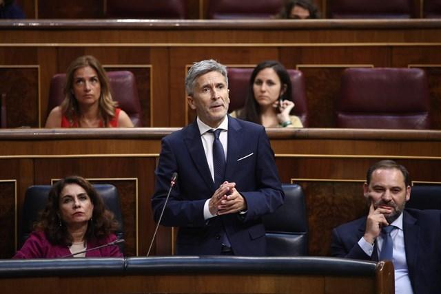 El ministro del Interior, Fernando Grande-Marlaska, interviene en el Congreso de los Diputados.