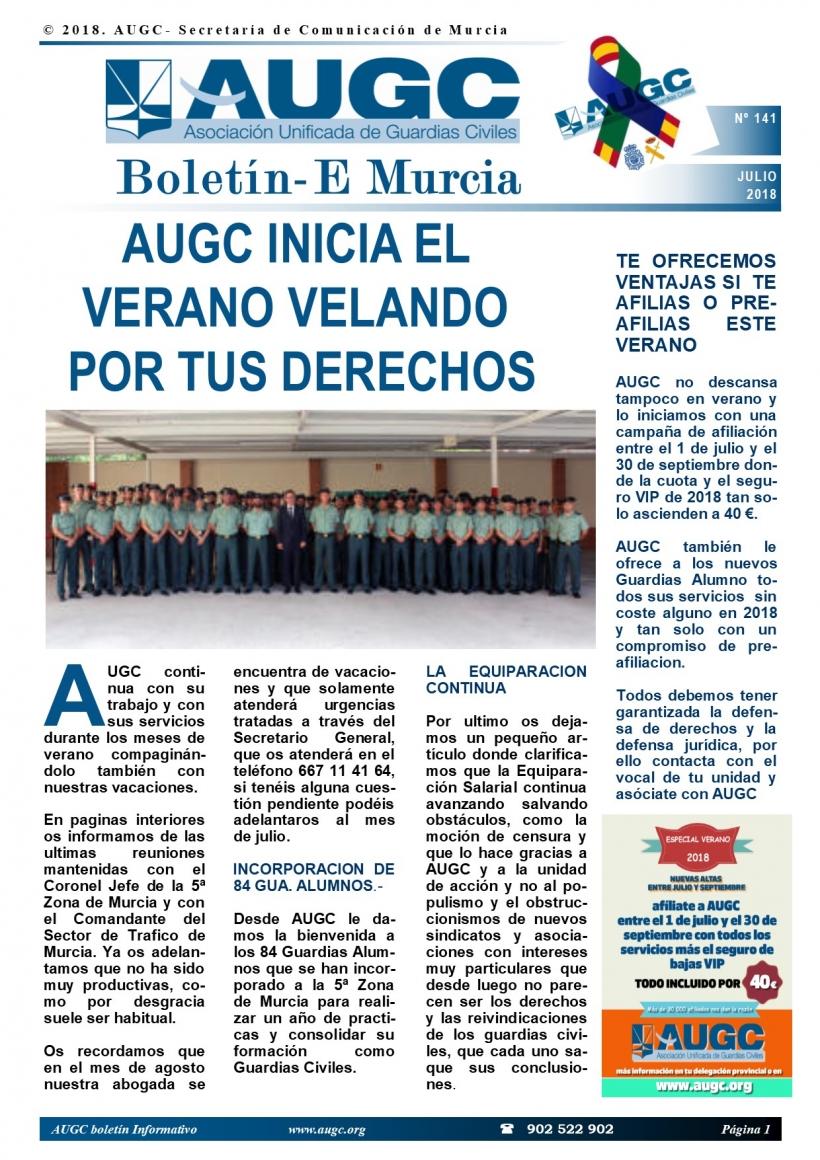Portada del boletín de julio de AUGC Murcia.