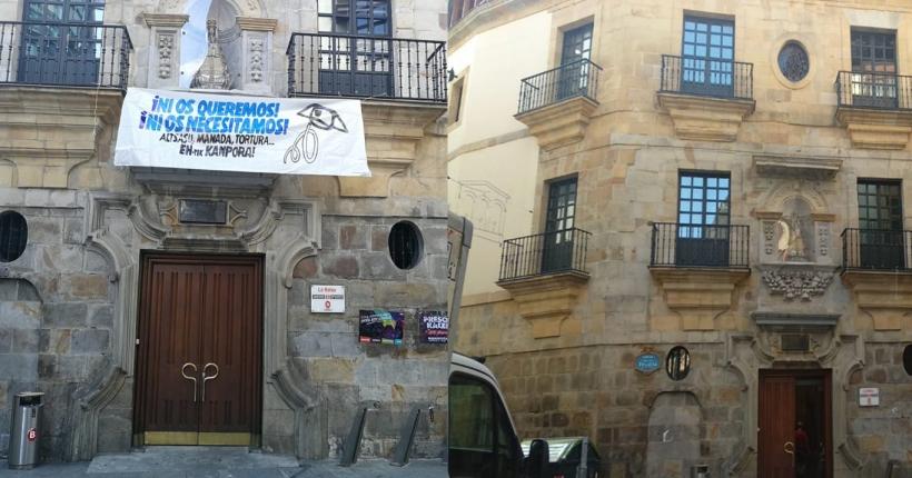 A la izquierda, la fachada con la pancarta. A la derecha, una vez retirada.