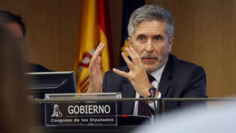 El ministro del Interior, Fernando Grande-Marlaska, durante su comparecencia de esta mañana en el Congreso. Foto: EFE