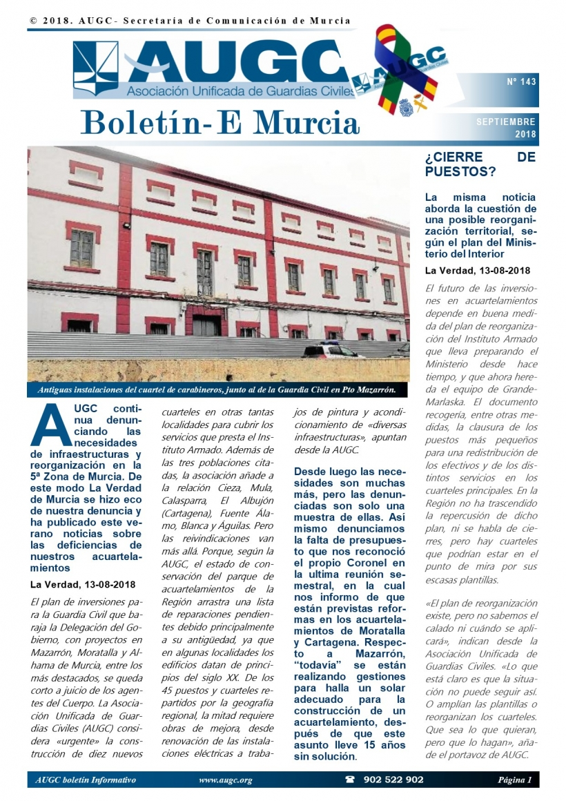 Portada del último boletín de AUGC Murcia.