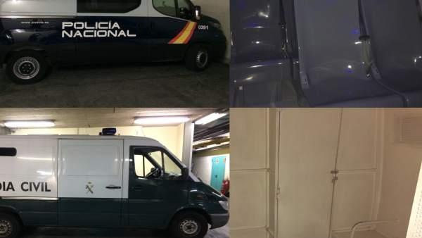 Comparativa entre furgones de Policía Nacional y Guardia Civil.