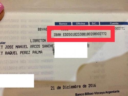 Captura de pantalla del número de cuenta en el que se puede ayudar a la familia de José Manuel Arcos.