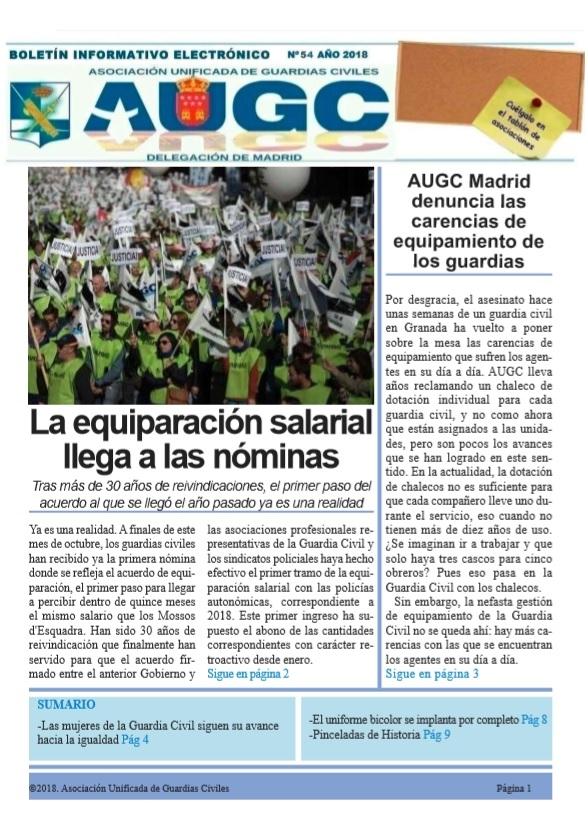 Portada del  boletín de octubre de AUGC Madrid