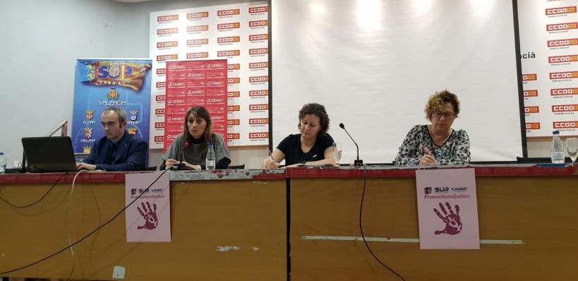 Alicia Sánchez (segunda por la derecha), secretaria nacional de Igualdad de AUGC, expuso su preocupación por la protección de las propias agentes que sufren violencia machista.
