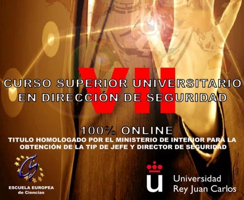 Cartel de la VII edición del Curso Superior Universitario en Dirección de Seguridad.