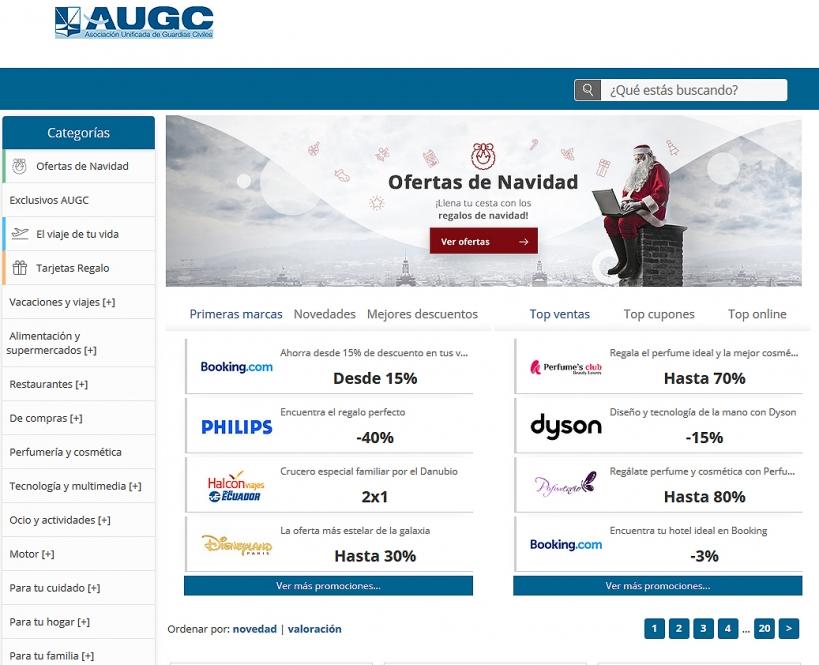 Captura de imagen de la página principal de la página de Colectivos Vip con los descuentos a afiliados a AUGC.
