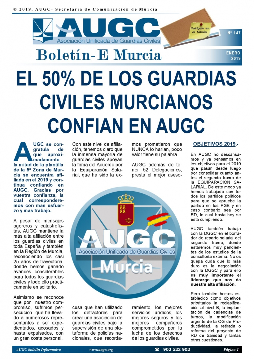 Portada del boletín de enero de AUGC Murcia.