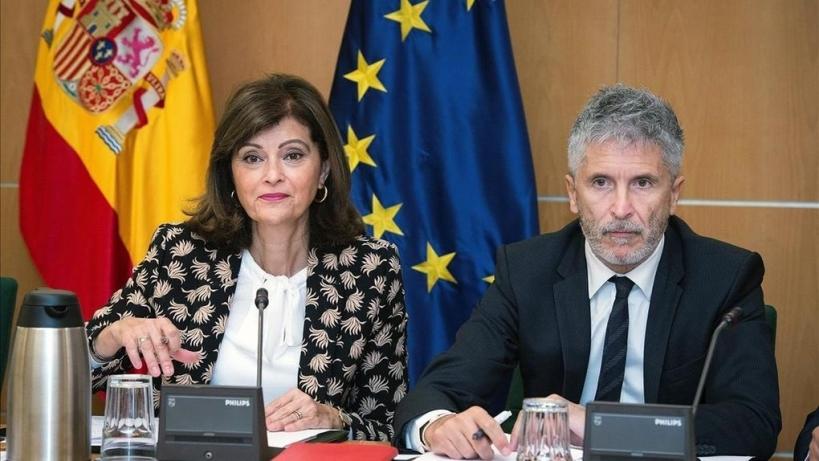 Imagen de archivo de la secretaria de Estado de Seguridad, Ana María Botella, con el ministro del Interior, Fernando Grande Marlaska.