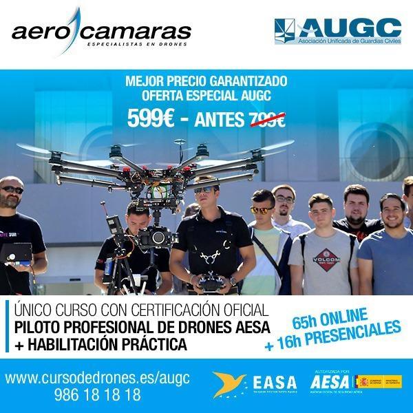 Cartel de la oferta del curso oficial de drones para afiliados a AUGC y familiares.