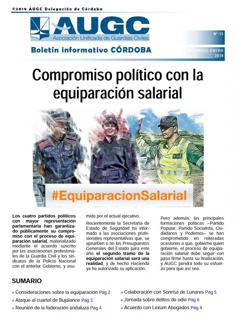 Portada del boletín informativo de AUGC Córdoba nº 15
