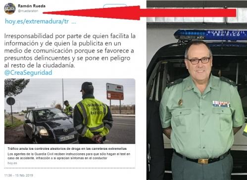 Rueda Ratón, y su tuit en el que alude a la información referida.