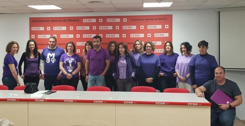 Integrantes del Comité de Igualdad de AUGC posan tras la reunión que mantuvieron ayer en Madrid.
